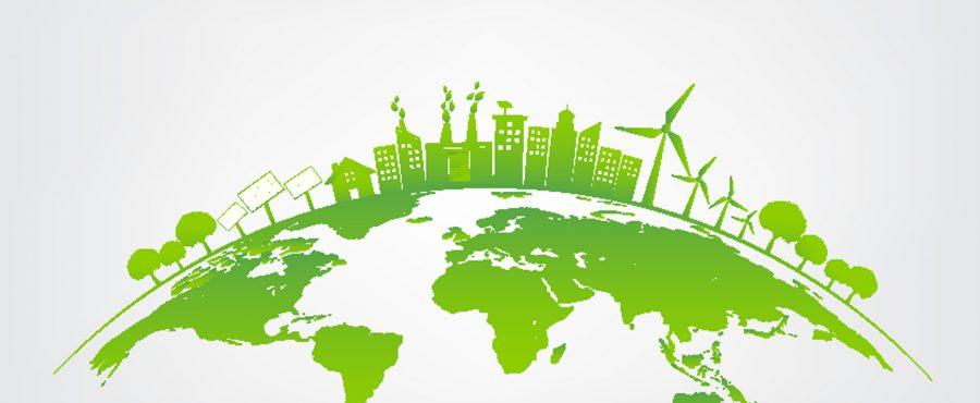 zielone miasto na globusie